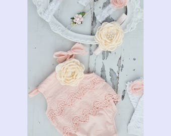 Summer Boho Chic Blush Pink Lace Romper & Headband. Newborn Baby Girl Coming Home Outfit, 1st Birthday Outfit Summer Set Mommy me