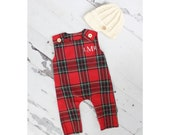 Christmas Holiday Baby Boy Jumpsuit Romper with Monogram or Name. Red Plaid Baby Boy Coming Home Outfit 1st Birthday Outfit Knit Newsboy Hat