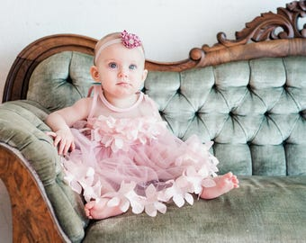 Baby Girl Birthday Dress, Sash & Lace, Velvet or Rose Headband 1st Birthday Outfit, Valentine's Day, Easter Sisters Matching Sz 1-8 Years