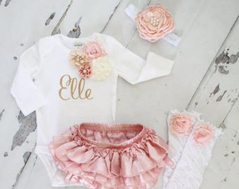 Newborn Baby Girl Coming Home Outfit Set of up to 4 Items, Blush Ruffle Diaper Cover Rose Leg Warmers Personalized Floral Bodysuit Summer