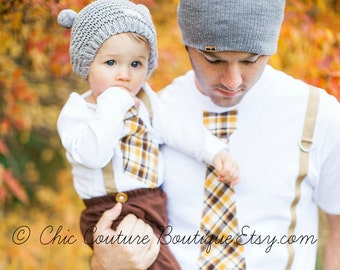 Matching Daddy and Me Gift Tie and Suspenders Dad & Baby Boy Set. Father Son Plaid Mustard Citrine Brown Baby's 1st Birthday Coming Home Set