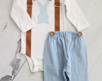 Easter Newborn Baby Boy, Coming Home Outfit. Bow Tie, Suspenders and Bunny Bodysuit, Navy or Baby Blue Pants, or Leg Warmers Spring Tie