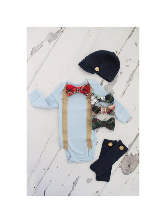 Christmas Holiday Plaid Newborn Baby Boy Coming Home Outfit  db7391a50dc9