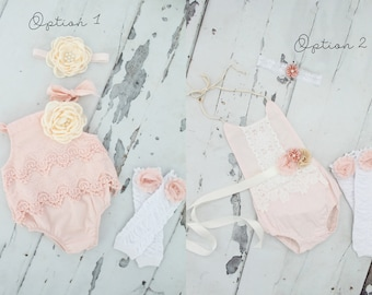 Summer Boho Chic Blush Pink Lace Rompers & Headbands. Newborn Baby Girl Coming Home Outfit, 1st Birthday Outfit Summer Set Mommy Me Matching