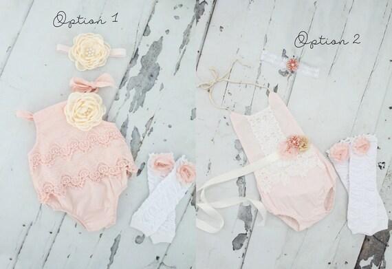 f5ab7e473 Summer Boho Chic Blush Pink Lace Rompers   Headbands. Newborn