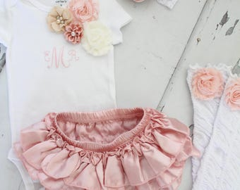 Summer Baby Girl 1st Birthday Outfit Set up to 4 Items, Blush Ruffle Diaper Cover, Rose Leg Warmers, Monogrammed Floral Bodysuit.