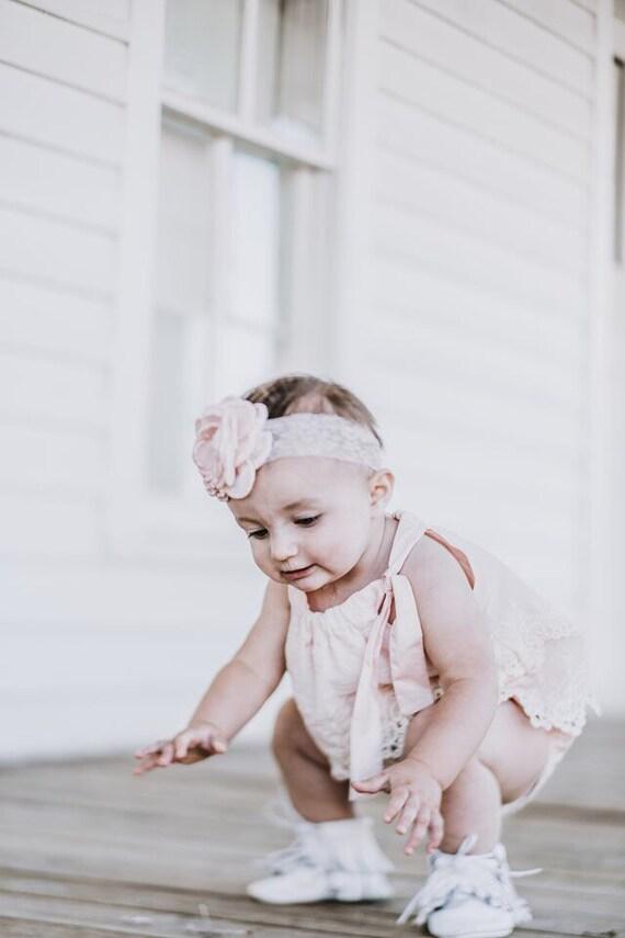 85061ef41 Summer Boho Chic Blush Pink Lace Romper   Headband. Newborn