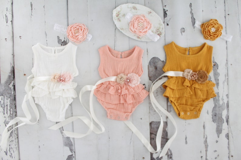 White Newborn Baby Girl Coming Home Outfit Pink 1st Birthday Outfit Summer Boho Chic Ruffle Romper w Sash /& Headband Lavender Mustard