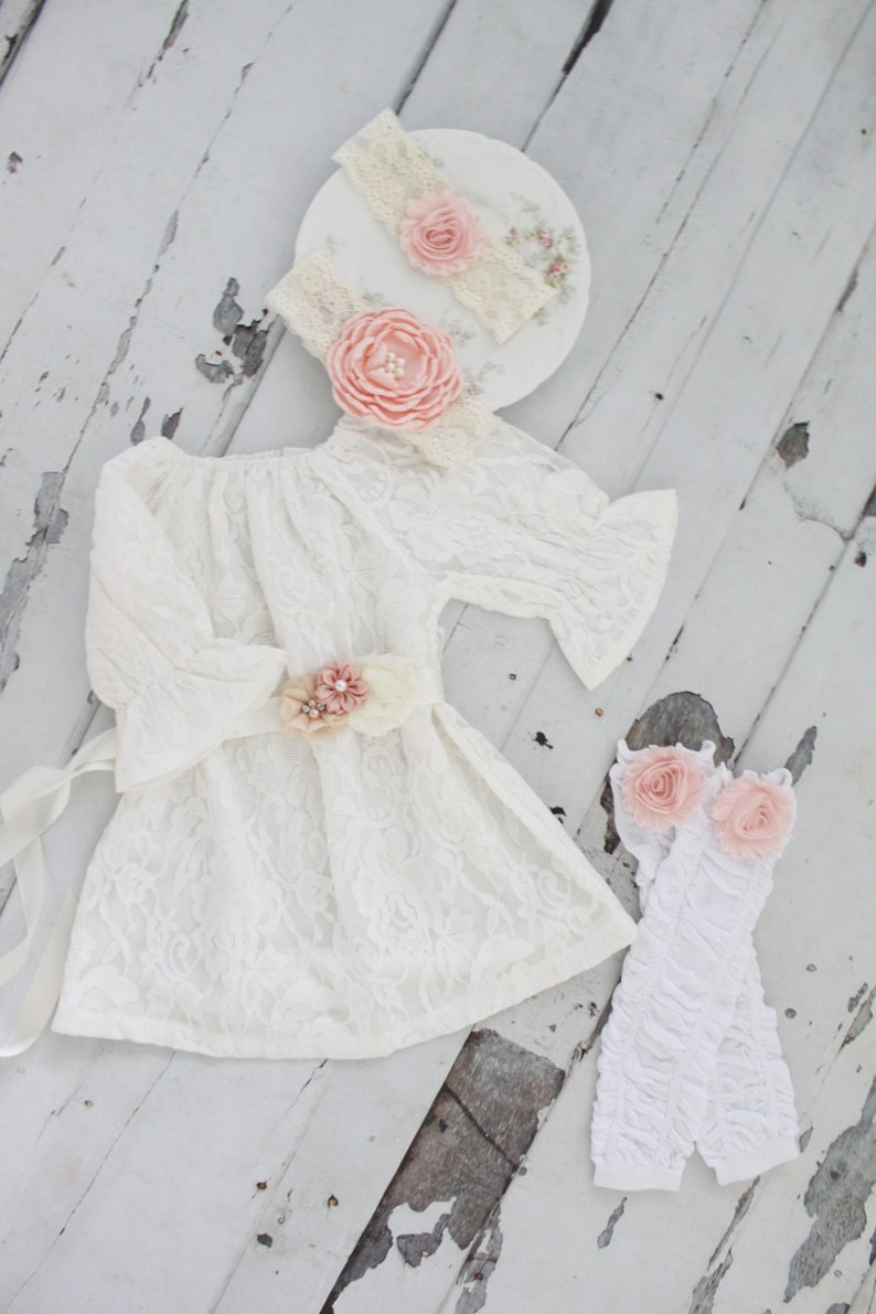 f6b34ea8bb11 Easter Spring Boho Chic White Lace Dress Blush Sash