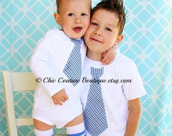 Summer Tie Shirts. Matching Big Brother Little Brother Tie Shirts Plaid Matching Wedding Birthday coming home Outfit Father's Day Outfit