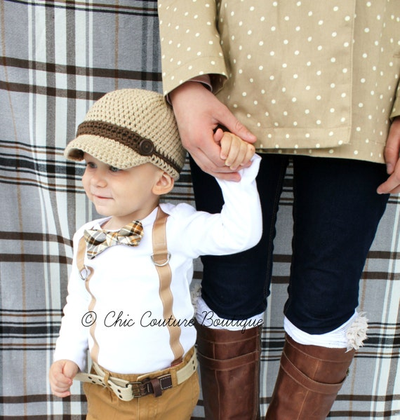 f8b6d3b2b Fall Harvest Plaid Baby Boy Bow Tie   Suspenders Bodysuit.