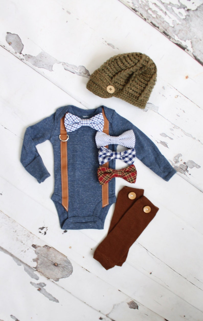 aae3f7ad8 Newborn Baby Boy Coming Home Outfit Set up to 3 Items. Suspender Bow Tie  Bodysuit, Leg Warmers & Knit Newsboy Hat. Easter Valentines Slate