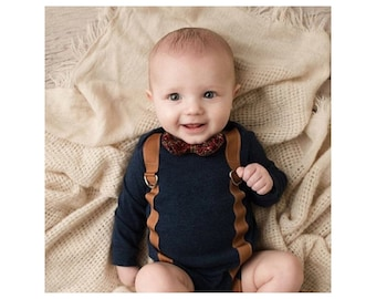 Summer Newborn Baby Boy Coming Home Outfit Set up to 3 Items. Suspender Bow Tie Bodysuit, Leg Warmers & Knit Newsboy Hat. Navy BlueSlate