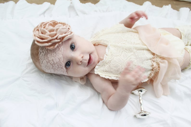 1st Birthday Thanksgiving Christmas outfit Coming Home Outfit Newborn Baby Girl Photo Prop Boho Lace Romper w Satin Blush Bow /& Headband