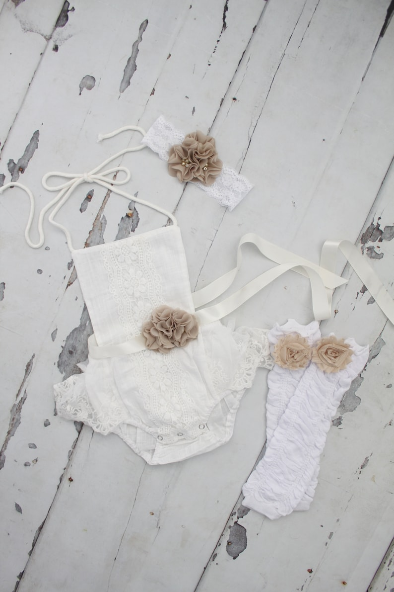 b64becaea481 Boho Chic White Lace Romper w Buff Sash   Headband. Newborn