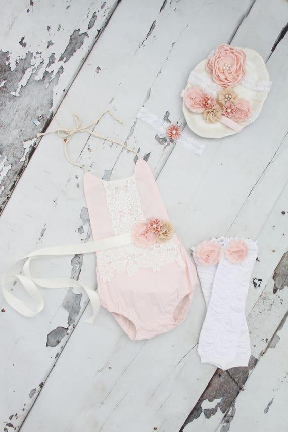 3e18a5854 Summer Outfit Boho Chic Blush Pink Lace Romper   Headband.