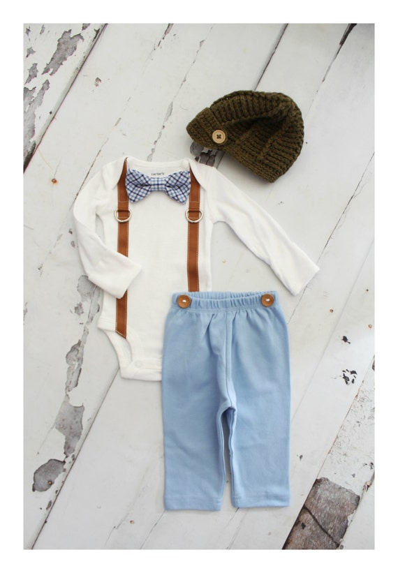 Christmas HolidayPlaid Newborn Baby Boy Coming Home Outfit Set  b7f7dec163d1