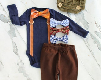 Fall Harvest Newborn Baby Boy Coming Home Outfit Set up to 4 Items. Bow Tie Suspender Bodysuit, Pants, Leg Warmers & Knit Newsboy Hat