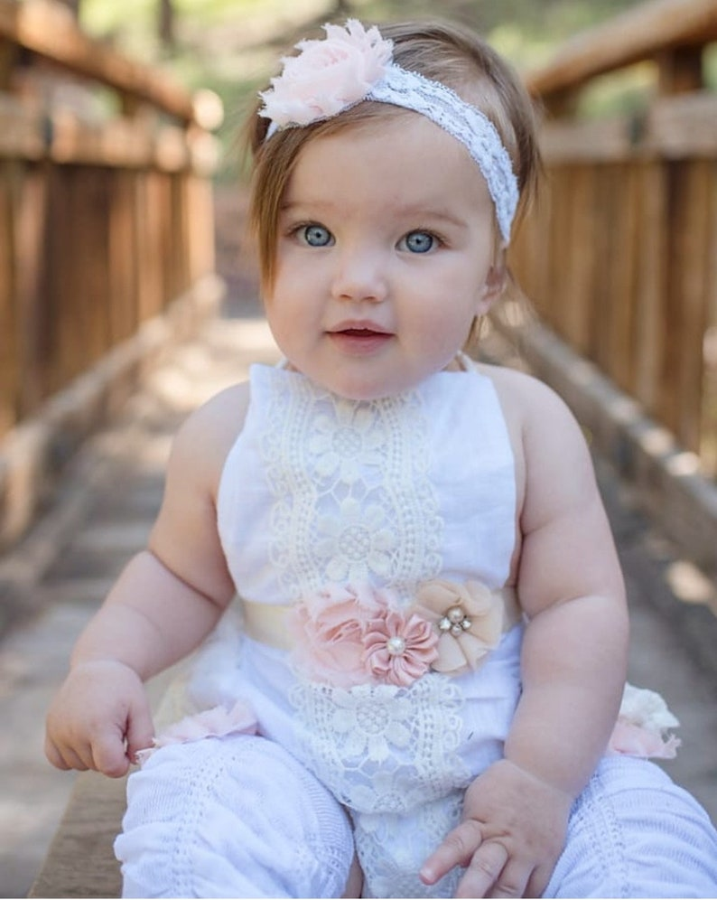 4d9ba9114d3f Summer Boho Chic White Lace Romper w Blush Sash   Headband.
