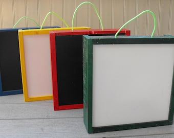 Portable Activity Art Box with Chalk board and White Dry Erase Board