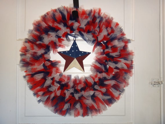 Extra Full Rustic Patriotic Tulle Wreath with Burlap Bow