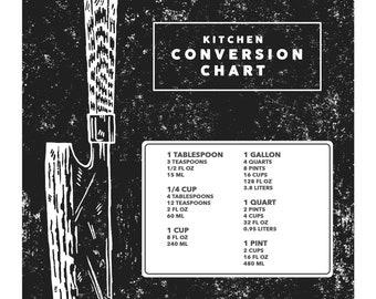 Kitchen Conversion Tool Guide Chart with Santoku Japanese Knife art   digital download minimalist art print kitchen poster wall decor