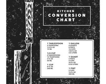 Kitchen Conversion Guide Chart with Nakiri Japanese Knife art   digital download print, kitchen poster wall decor