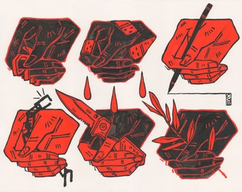 Red Hands // 12 x 16 inch art print / dark line art goth punk poster