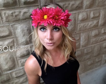 Hot Pink Daisy Crown