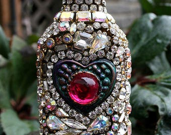 Stunning Jeweled Crystals Rhinestones Jewelry Encrusted Mosaic Bottle with Heart Romantic Home Decor Origian Art Jewelry for the Home