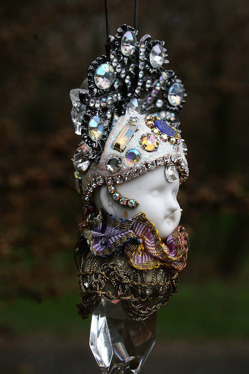 Altered Art Ornament Fairy Crystal Prism Assemblage Doll Ice Holiday Ornament Suncatcher Chandelier Doll Home Decor with Purple Druzy Gift