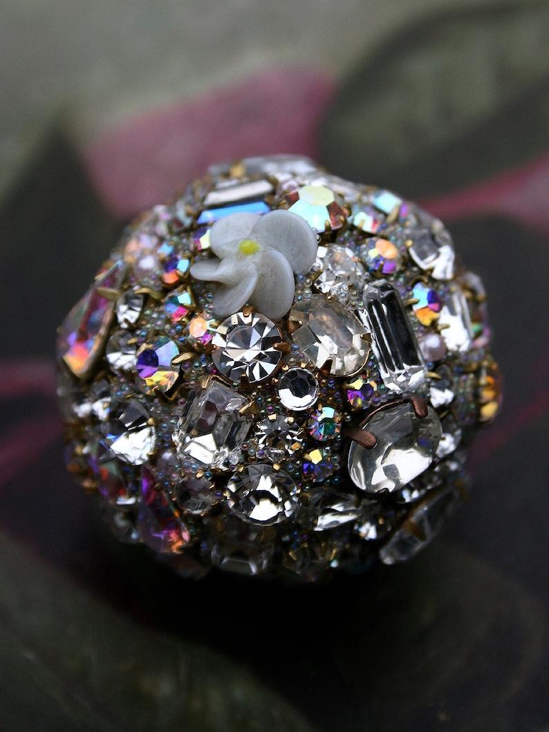 Vintage Crystals Rhinestones Ball Orb Sphere Encrusted Jewelry Ornament Light Blue Porcelain Roses Jewelry Home Holidays Original Art Decor