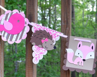 Pink & Brown Enchanted Forest Banner Wildlife Banner Woodland Birthday Banner Forest Baby Girl Shower It's a Girl Shower Prop READY TO SHiP