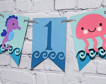 Under the Sea 1st Birthday High Chair Banner Teal Ombre ONEder the Sea First Party Decoration Customize w/ Two Sizes  9 Ocean Animal Options