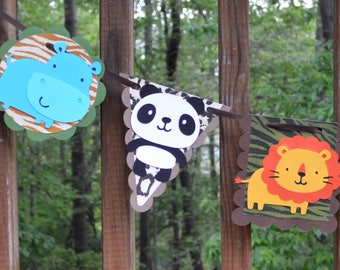 Jungle Animal Banner Wild One Photo Prop Safari Baby Boy Shower First Birthday Decoration Two Wild Zoo Party Tropical Nursery Wall Art