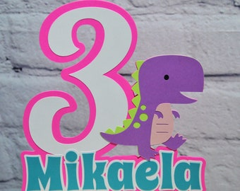 Girl Dinosaur Birthday Cake Topper Personalized 3 Rex Birthday Centerpiece Customize Age & Name Two Size Options for Dinomite Party Decor