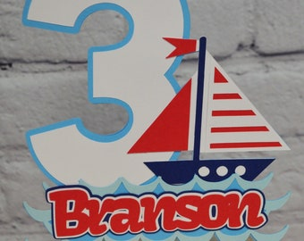 Sailboat Cake Topper Personalized Nautical Centerpiece Customize Age & Name Two Size Options OFISHally One Party Decor