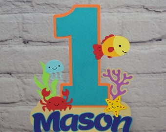 ONEder the Sea Birthday Cake Topper Personalized Under the Sea Centerpiece Customize Age & Name Two Size Options OFISHally One Party Decor