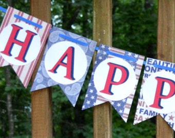 Red White & Blue Birthday Banner 4th of July Happy Birthday Memorial Day Party Decor Stars and Stripes Patriotic Party Supply READY TO SHIP