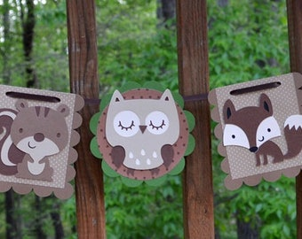 Enchanted Forest Banner Woodland Wildlife Banner It's A Boy Birthday Banner It's a Girl Forest Baby Shower Photo Prop Wall Art READY TO SHiP