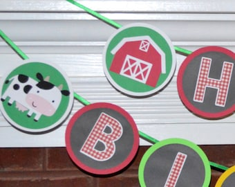 Farm Birthday Banner Down on the Farm Animal Party Decoration READY TO SHiP Barnyard Bash 1st Birthday Banner Old MacDonald Party