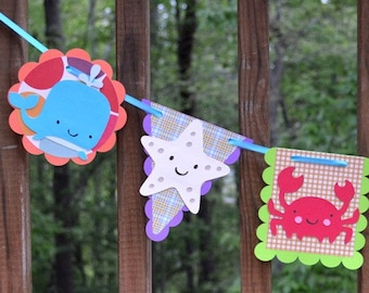 Under the Sea Party Animal Banner Sea Life Party Banner Under the Sea Baby Girl Shower Boy Birthday Photo Prop Wall Art READY TO SHIP