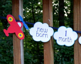 Airplane & Clouds 1st Birthday Photo Banner Vintage Biplane Time Flies First Birthday Milestones Picture Banner Flying High Aviation Party