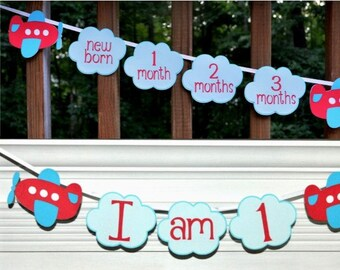 Airplane & Clouds Photo Banner High Chair Banner 1st Birthday Banner Adjustable First Year Time Flies Birthday Banner Choose Either or Both
