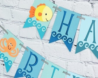 Oneder the Sea Animal Birthday Banner Under the  Ocean First Party Decorations Two Size Options for Name High Chair or Baby Shower