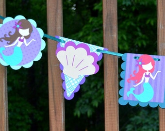 READY TO SHIP Mermaid Banner  Under the Sea Garland Mermaid Party Decoration Little Mermaid Birthday Mermaid Shower Purple Aqua Sea Green