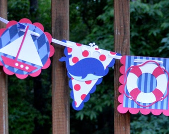 Red & Navy Nautical Party Banner Nursery Wall Art READY TO SHIP Sail Away Sailboat Birthday Party Decoration Ahoy Its A Boy Baby Shower