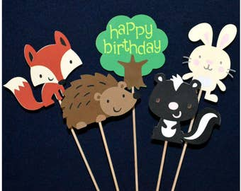 Forest Centerpiece Sticks Happy Birthday or Welcome Baby Shower Fox Hedgehog Bunny Skunk Tree Table Decor Cake Decoration READY TO SHIP