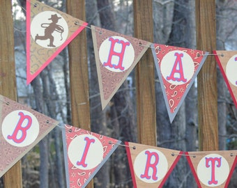 Red Brown & Blue Cowboy Birthday Banner Birthday Decoration Cowboy Party Decoration 1st Rodeo Party Banner Western Birthday READY To SHiP