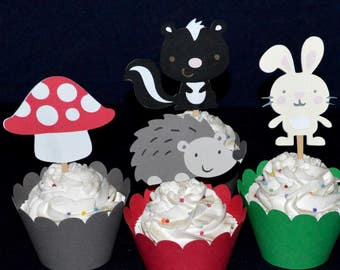 12 Enchanted Forest Cupcake Toppers  Woodland Birthday Party up to  2 SETS SAME SHiPPING Food Picks Baby Shower Decorations READY to SHiP